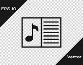Grey Music Book With Note Icon Isolated On Transparent Background. Music Sheet With Note Stave. Note poster