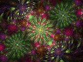 Beautiful Fractal Floral Art. Computer Generated Graphics. Abstract Floral Fractal Background For Ar poster