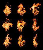 Satz von Feuer Flames erhöhen hohe
