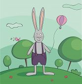 Walking rabbit vector illustration