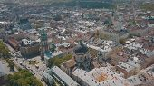 Lvov, Ukraine. Aerial Roofs And Streets Old City Lviv. Central Part Of Old City. European City In Sp poster