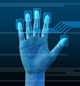 pic of computer technology  - scanning of a finger on a touch screen interface - JPG