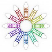 The word Choice on many arrows pointing in different directions symbolizing different choices for your career, your business or life