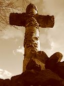 Cemetery In Brooklyn - Close Up Of Cross - Sepia