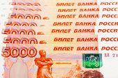 Billetes de rublos rusos como fondo