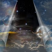 stock photo of gates heaven  - Veil of sky pulled open to reveal other - JPG