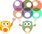 picture of hooters  - cute owl painting abstract circles - JPG