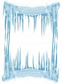 Ice Frame With Icicles And Snowflakes.eps