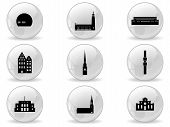 Web buttons, landmark icons - Stockholm poster