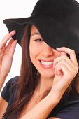 Charming Young Woman In A Black Hat