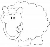 stock photo of the lost sheep  - illustration of funny sheep for children to colored - JPG