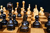 Woody Board With Black And White Chess Figures