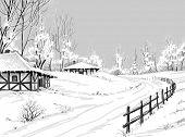 Idyllic winter landscape vector hand drawing