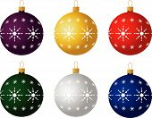 Set Of Six Christmas Ornaments. Vector