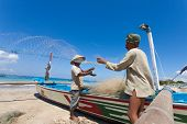 BALI - FEBRUARY 13. Portrait of fishermen on Jimberan beach on February 13, 2012 in Bali, Indonesia.