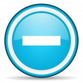 minus blue glossy icon on white background