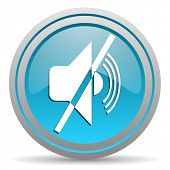 mute blue glossy icon on white background