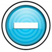 minus blue glossy icon isolated on white background