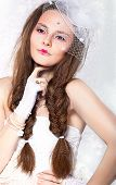 Retro Styled Fashion Portrait - Woman In Veil And Gloves. Vintage Style