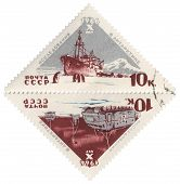 Research Vessel And All-terrain Vehicle In Antarctica On Post Stamp