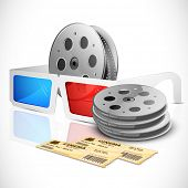 illustration of pair of movie ticket with 3d glasses and film reel