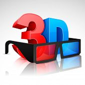 illustration of 3D word written in red and blue color with 3D glasses