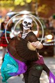 Zombie Fan Dancer Performs In Halloween Parade