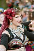 Belly Dancer Performs At Halloween Parade