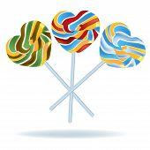 Heart Shaped Lollipop Vector