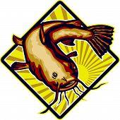 Catfish Mud Cat Polliwog Jumping Retro
