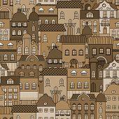 Ancient city seamless pattern