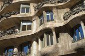 Close-up View Of Casa Mila Facade. Horizontally.