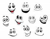 stock photo of caricatures  - Funny cartoon emotional faces set for comics design - JPG