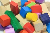 Stack Of Colorful Wooden Building Blocks