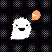 Cute Kawaii Halloween Ghost Isolated On Black Dotted Background
