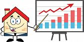 Business House Character With Pointer Presenting A Progressive Chart