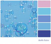 A background of delicate soap bubbles over a blue sky, in a colour palette with complimentary colour