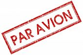 Par Avion Red Rectangular Stamp