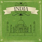 picture of mughal  - vector illustration of Taj Mahal of India - JPG
