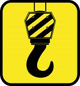 yellow icon with crane hook