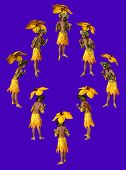 pic of fairyland  - 3D computer graphics of a girl with a umbrella from yellow flower petals - JPG