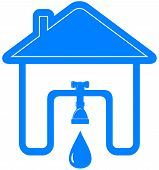 picture of spigot  - blue plumbing symbol with house - JPG