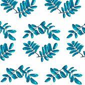 Rhombic Blue Leaves Seamless Pattern