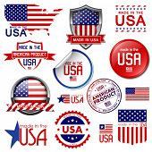 Made in the USA. Set van vector grafische pictogrammen en labels