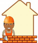 cartoon sign with space for text and afro american builder