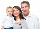 pic of father child  - Happy Smiling Family Portrait isolated on White Background - JPG