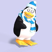 stock photo of growler  - male toon enguin with hat and scraf and clipping path - JPG