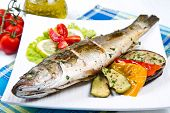 image of plate fish food  - fish sea bass grilled with lemon and grilled vegetables - JPG