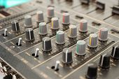 Sound mixer, close-up, selective focus