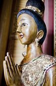 Wood Handmade.sculptures In The Temple. Thai Style  Acting Wai (or Sawasdee)